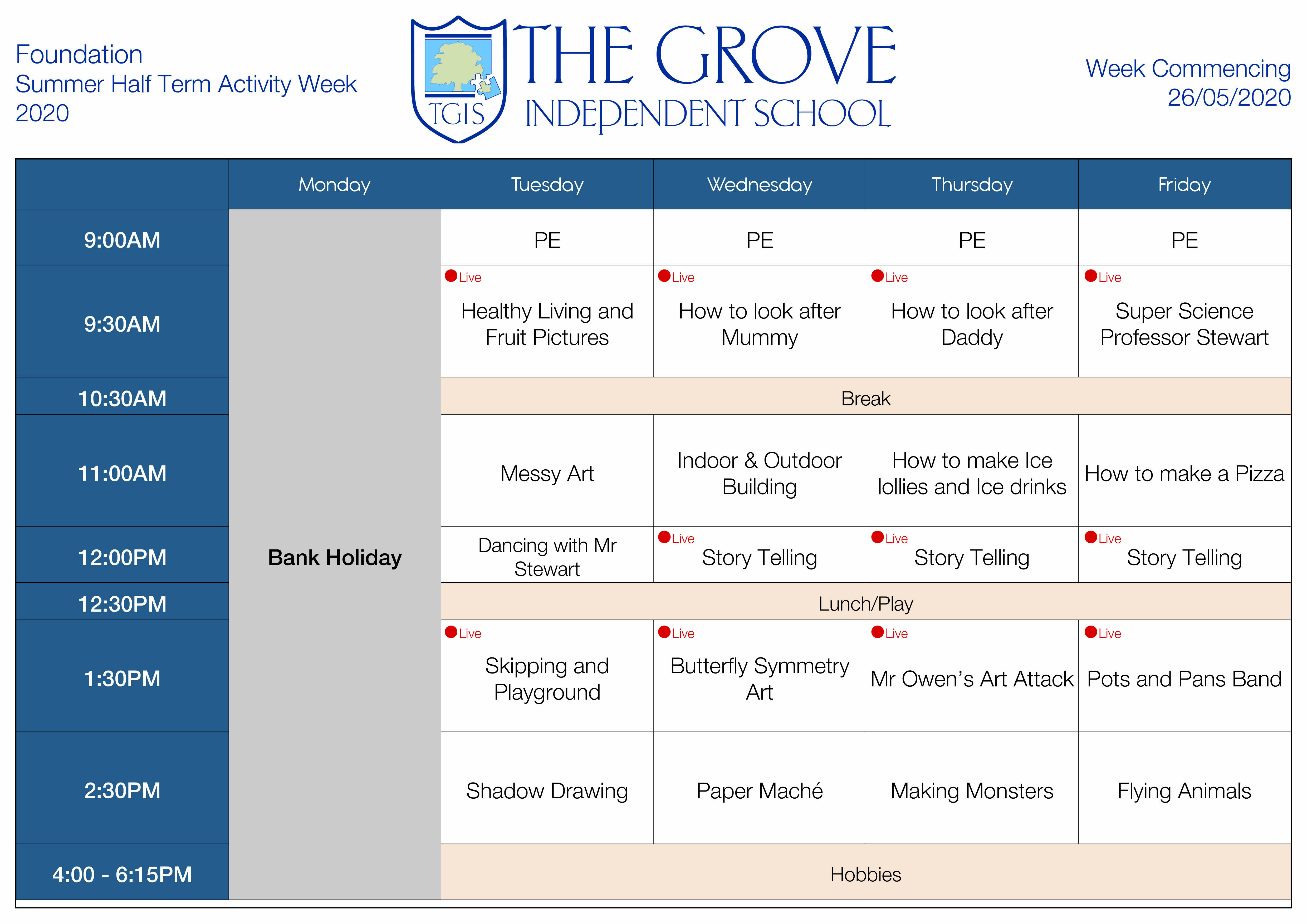 Activity Week Timetables Foundation